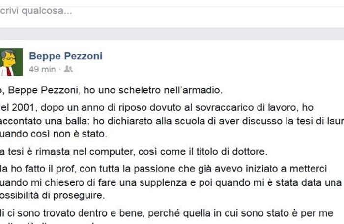 Il post sul profilo Facebook di Pezzoni
