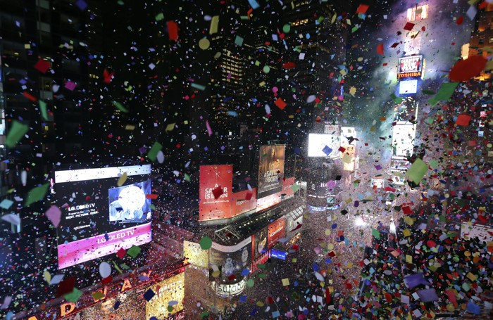 L'ultimo dell'anno a Times Square, New York, Stati Uniti
