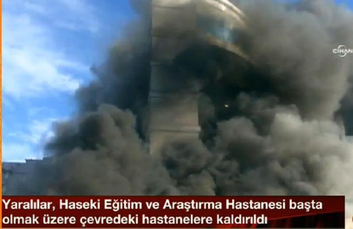 Un hotel avvolto dalle fiamme in un altro quartiere di Istanbul, Maltepe, in un fermo immagine tratto da Cnn Turk