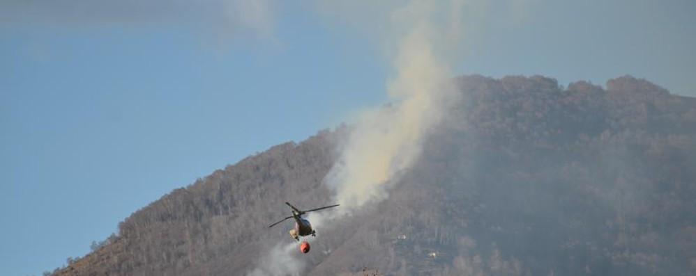Il vento alimenta il rogo, domato 2 volte Bruciati 8 ettari di bosco a Palazzago