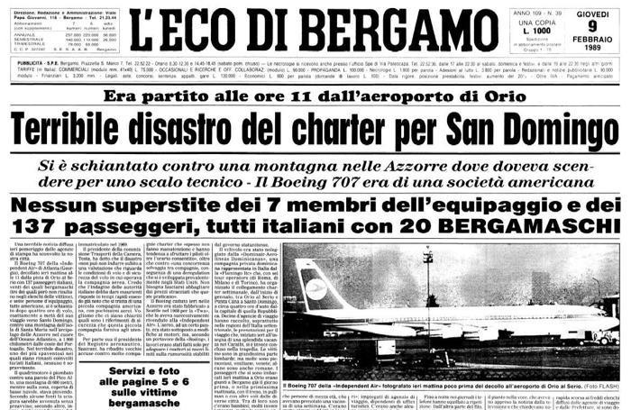 DISASTRO AEREO DELLE AZZORRE (L'ECO DI BERGAMO DEL 9 FEBBRAIO 1989