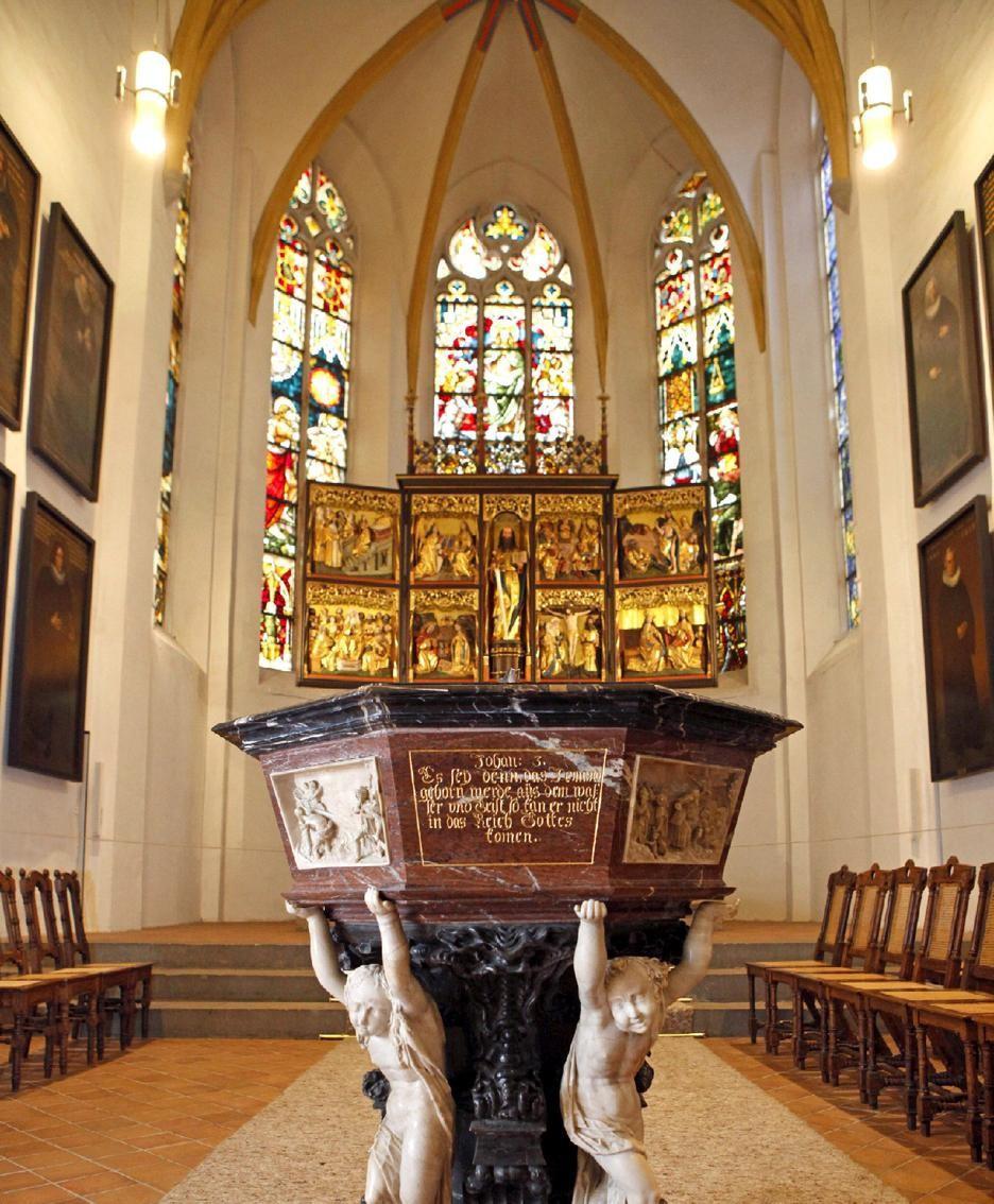 Lipsia, fonte battesimale della chiesa luterana di San Tommaso