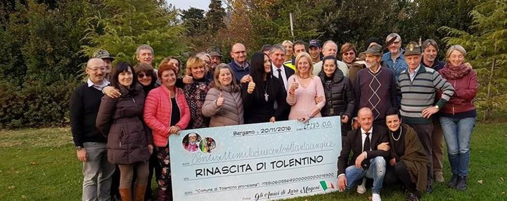L'abbraccio dei bergamaschi a Tolentino Oltre 27 mila euro per i terremotati