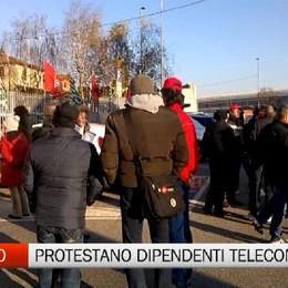 Manifestazione dei lavoratori di Telecom