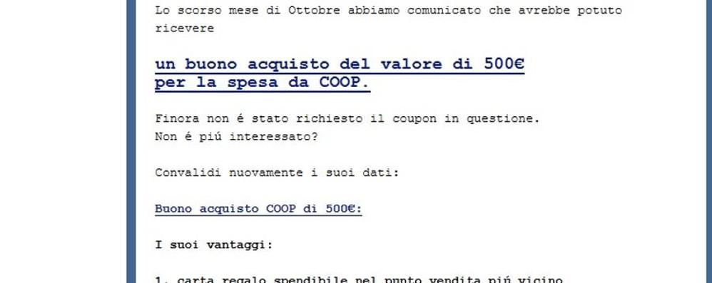 Coop, gira ancora il buono truffa da 500 €  Ecco le peggiori e-mail fasulle