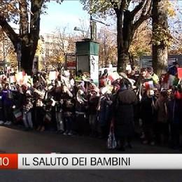 Mattarella a Bergamo, i bambini e la gente
