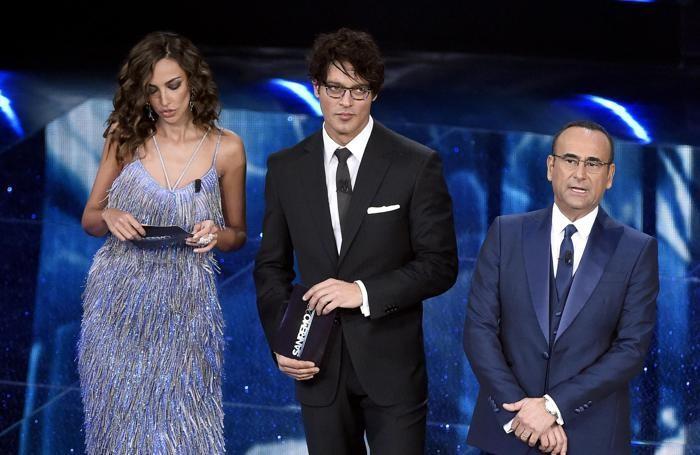 Il trio dei presentatori di Sanremo(Foto Ansa)
