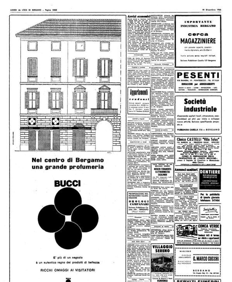 Una pubblicità storica di Bucci su L'Eco di Bergamo degli anni Sessanta