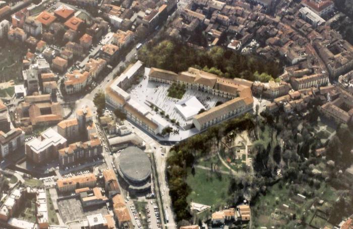 Presentazione del progetto di restauro della caserma montelungo di Bergamo - progetto rendering di Nieto Sobejano