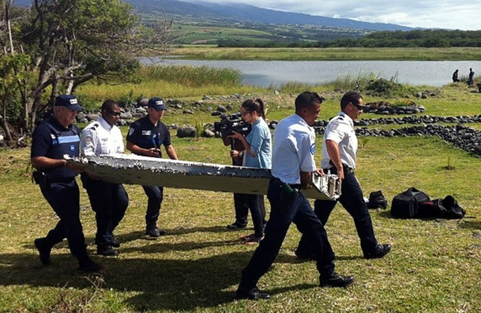 Il flaperon recuperato sull'isola di Reunion