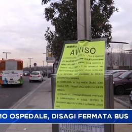 Bergamo. Disagi alla fermata autobus dell'ospedale