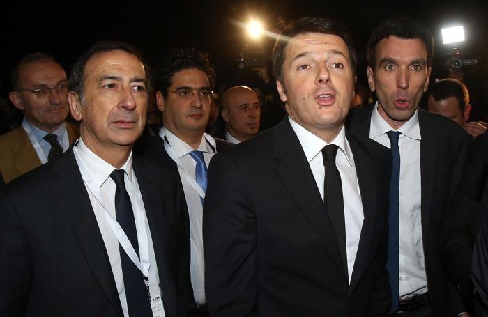 Da sinistra, Giuseppe Sala, Matteo Renzi e Maurizio Martina