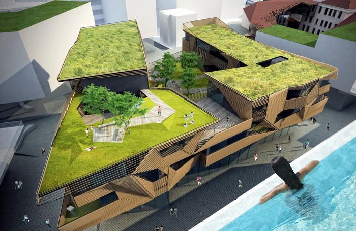 Il rendering di uno dei blocchi commerciali-residenziali visto dall'alto