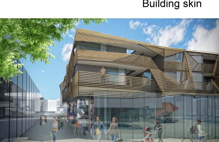 Il rendering di uno scorcio del centro commerciale-residenziale