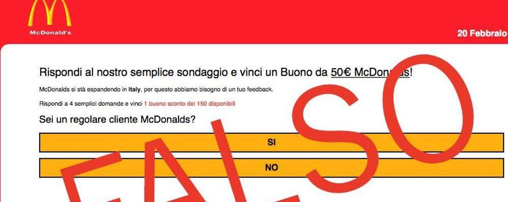 «Rispondi al sondaggio e vinci 50 euro» McDonald's smentisce: è un'offerta falsa