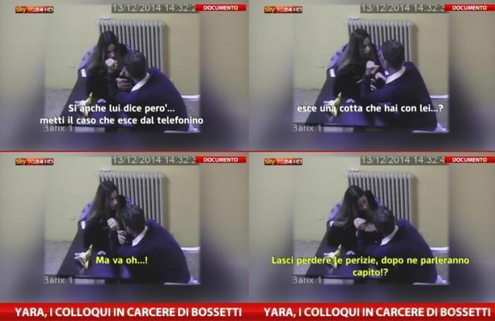 Un momento dei colloqui in carcere tra Marita Comi e Massimo Bossetti