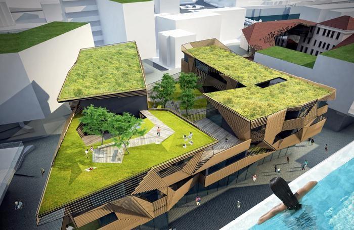 Rendering del centro commerciale-residenziale ideato dall'architetto giapponese Kengo Kuma a San Pellegrino Terme per il gruppo Percassi