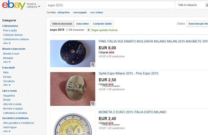 La pagina di eBay dove sono in vendita i gadget di Expo 2015