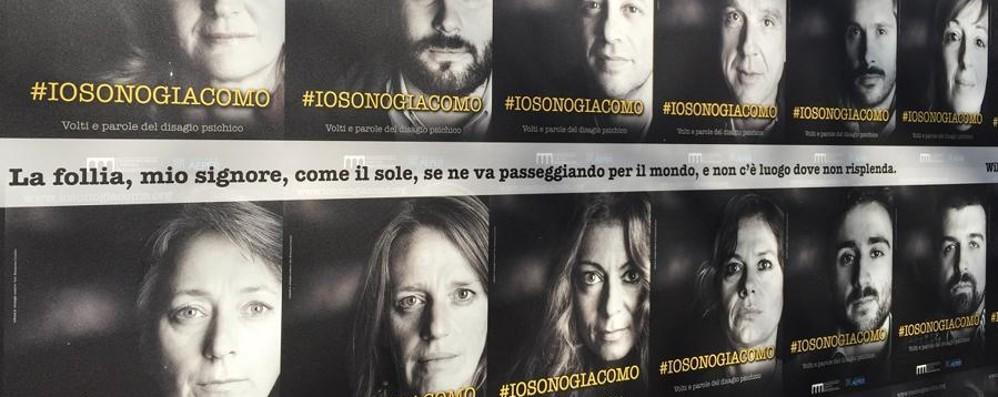 #iosonogiacomo sul Sentierone Volti e parole sulla malattia mentale