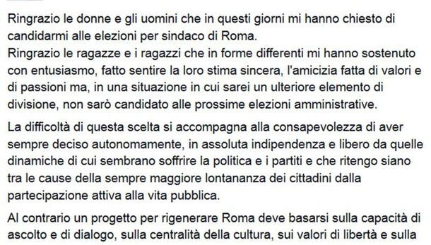 Roma: Bray, non dividere, non mi candido