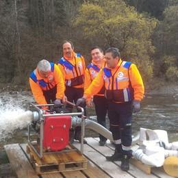 Gromo, super idrovora anti alluvioni donata ai volontari della Croce Blu
