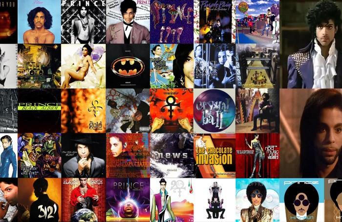 La   copertine degli album di Prince e due fermo immagine dell'artista nei film Purple Rain e Graffiti Bridge.