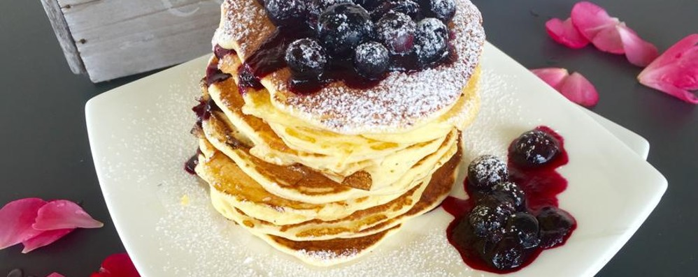 Pancakes  con coulis di mirtilli