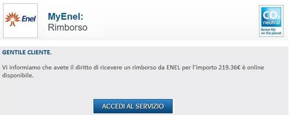 «Clicca qui per ottenere il rimborso» Enel mette in guardia dalla truffa