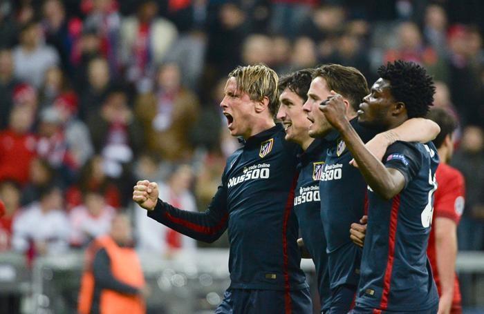 I giocatori dell'Atletico Madrid in festa a Monaco