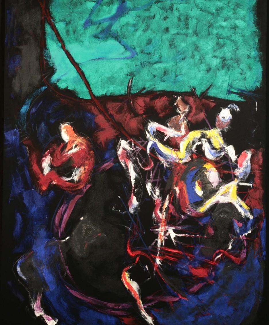 Senza titolo, olio su panno, cm. 200x158, 1985-86