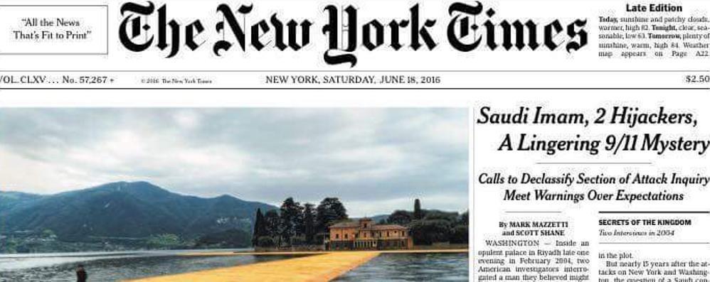 Christo, prima pagina del New York Times Per la passerella un coro di «great!»
