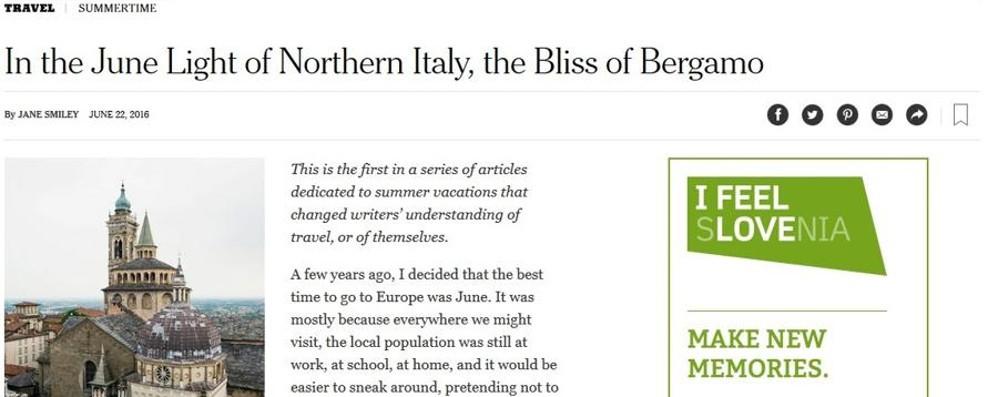 La nostra città sul New York Times  Il Pulitzer Jane Smiley parla di Bergamo