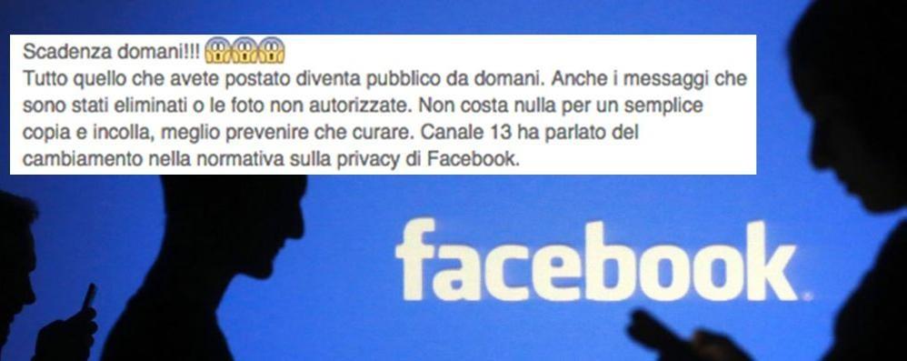 Facebook cambia la privacy Ma è la solita bufala on line