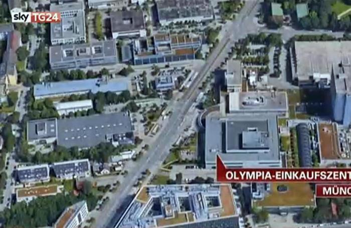 Un frame tratto da SkyTg24 mostra la cartina con il punto esatto in cui si è verificato l'attacco armato nel centro commerciale