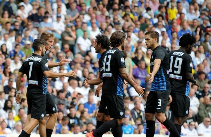 I giocatori nerazzurri subito dopo il gol del pareggio
