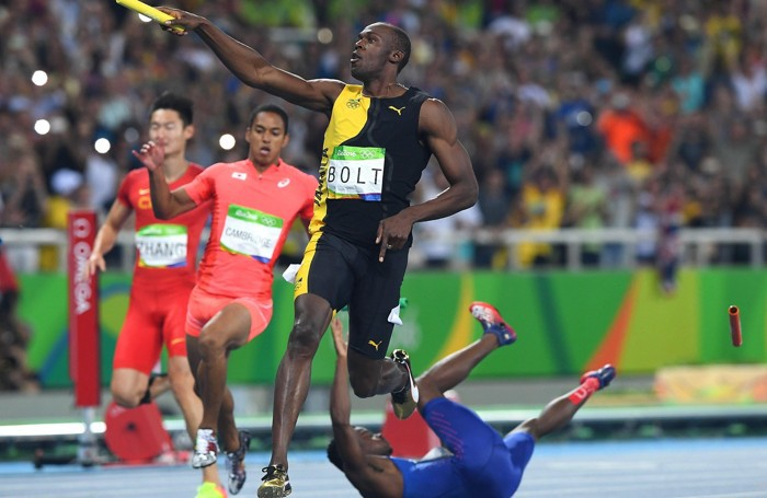 L'arrivo vittorioso di Bolt