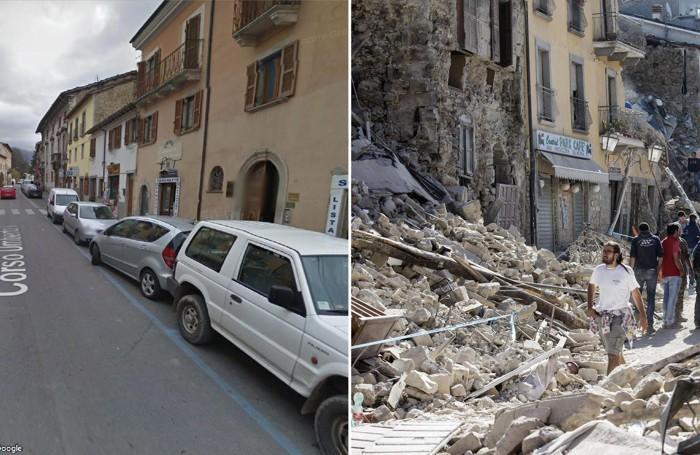 La combo mostra Corso Umberto, la strada principale di Amatrice tratta da Google Street View (sulla sinistra) e la stessa strada dopo il forte terremoto