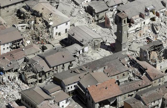 Foto aerea della devastazione di Amatrice
