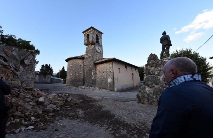 I danni causati dal forte terremoto a San Pellegrino Norcia, 24 agosto 2016. ANSA/CROCCHIONI
