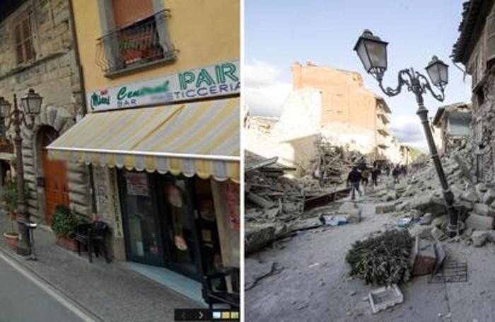 La combo mostra una strada di Amatrice tratta da Google Street View (sulla sinistra) e la stessa strada dopo il forte terremoto di oggi, 24 agosto 2016. ANSA/GOOGLE STREET VIEW-MASSIMO PERCOSSI