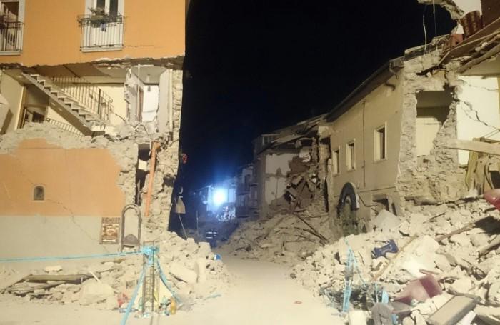L'area di Amatrice dove hanno lavorato i vigili del fuoco di Bergamo
