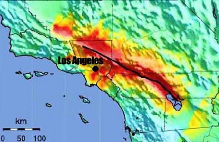 La faglia di Sant'Andrea visualizzata sulla cartina geografica accanto a Los Angeles. Ma anche San Francisco è a rischio