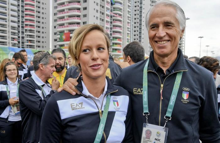 Federica Pellegrini con il presidente del Coni Giovanni Malagò