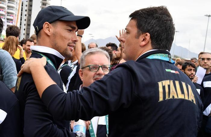 Il premier Renzi con il tennista  Fabio Fognini