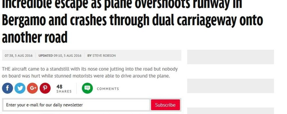Dalla Cnn a Time.com fino in Scozia L'aereo fuori pista fa il giro del mondo