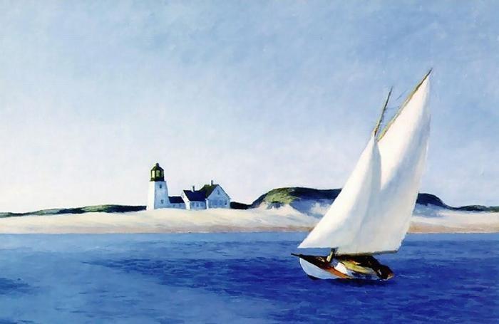 """""""The long leg"""", uno dei quadri più famosi di Hopper. Gli scenari dipinti dal grande pittore americano ancora oggi costituiscono il panorama della Baia di Cape Cod."""