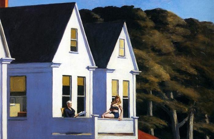 """""""Second Story Sunlight"""", uno dei quadri più famosi di Hopper, che raffigura le tipiche case di legno costruite per i turisti stagionali."""