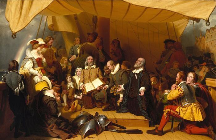 """Il famoso quadro di Robert Walter Weir dal titolo """"L'imbarco dei pellegrini"""", conservato al Brooklyn Museum di New York. Da notare, sulla sinistra, l'arcobaleno, simbolo di speranza per il buon esito del viaggio."""