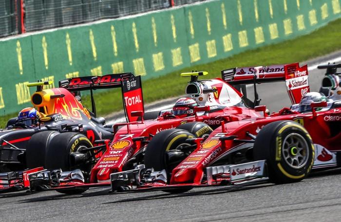 L'incidente nel Gp del Belgio a Spa con Raikkonen stretto da Verstappen e Vettel