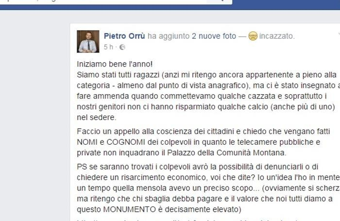 Il post di Orrù su Facebook